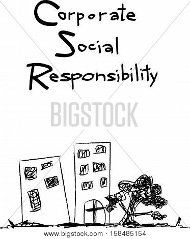 Business Concepts CSR Abbreviation or Corporate Social Responsibility Achieve.