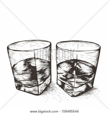 Two glasses with liquid.Isolated on white background.Vector illustration