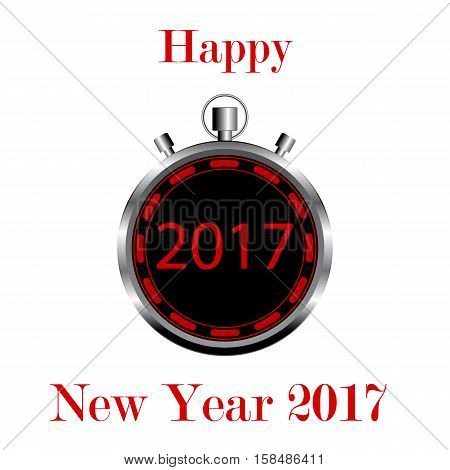 Creative abstract New Year 2017 beginning celebration concept 3D render illustration stopwatch with Happy New Year 2017 congratulation text isolated on white background