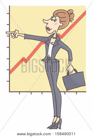 Confident, stylish woman standing and pointing her finger ahead, chart in the back showing business growth.