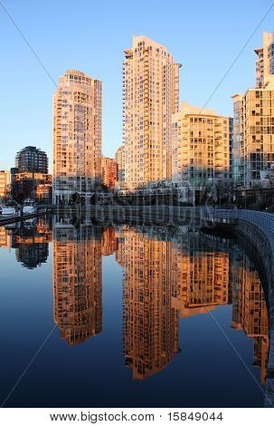 Towers at Dawn, False Creek, Vancouver