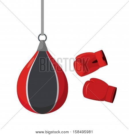 Punching Bag And Gloves. Attempts On Sports Equipment. Training Boxer