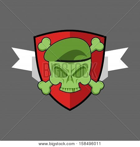 Military Emblem. Army Logo For Special Troops. Soldiers Badge. Skull In Beret. Crossbones And Skelet