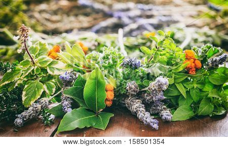 Variety Of Herbs On Wooden Background
