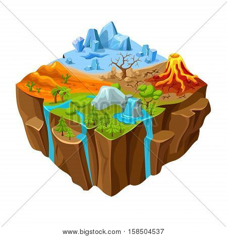 Ground landscape of computer game isometric design with waterfall desert and drought volcano and rocks vector illustration
