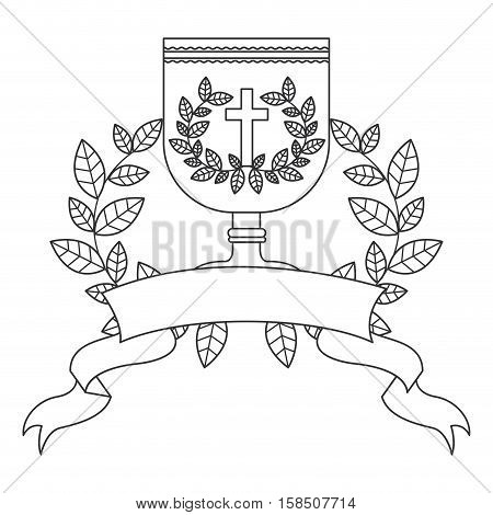 Cup and wreath icon. Religion god pray faith and believe theme. Isolated design. Vector illustration