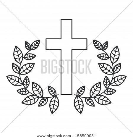 Cross and wreath icon. Religion god pray faith and believe theme. Isolated design. Vector illustration
