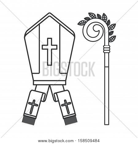 Pope hat icon. Religion god pray faith and believe theme. Isolated design. Vector illustration