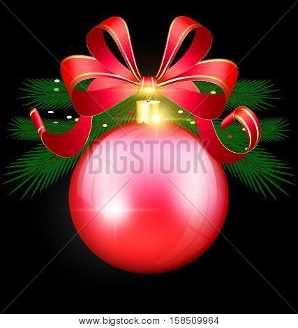 black background and the large red ball with tree and bow