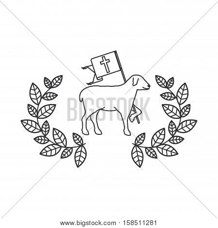 Sheep and wreath icon. Religion god pray faith and believe theme. Isolated design. Vector illustration