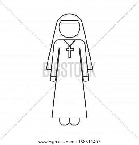 Nun icon. Religion god pray faith and believe theme. Isolated design. Vector illustration