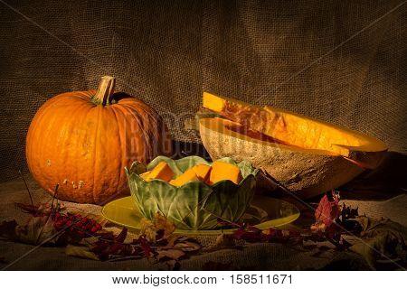 Autumn still life  / Autumn still life with pumpkins .