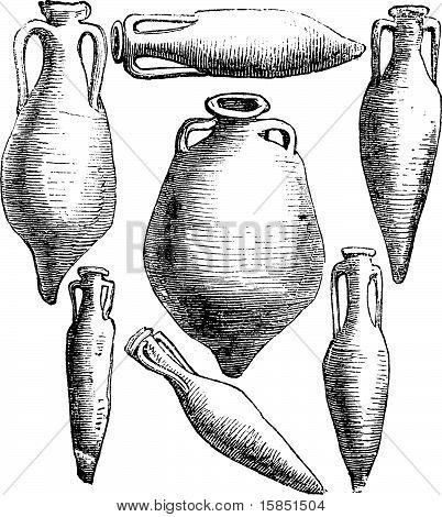 Greek And Roman Amphora Vases Vintage Engraving.