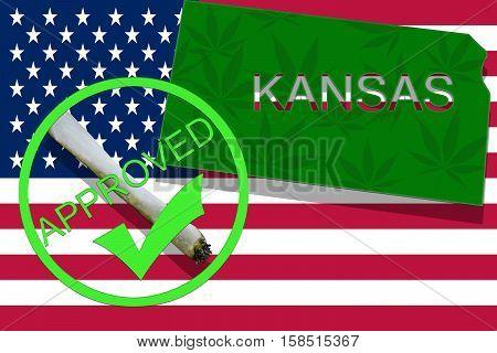 Kansas On Cannabis Background. Drug Policy. Legalization Of Marijuana On Usa Flag,