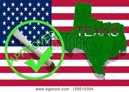 Texas  On Cannabis Background. Drug Policy. Legalization Of Marijuana On Usa Flag,