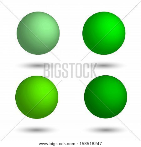 3D sphere. Set of realistic balls of different shades of green. Vector illustration.