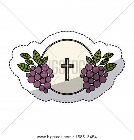 Cross and grapes icon. Religion god pray faith and believe theme. Isolated design. Vector illustration