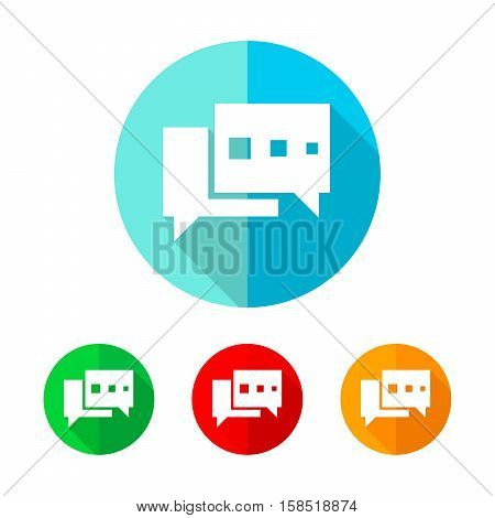 Set of colored chat bubble icons. White chat bubble with long shadow. Vector illustration. Chat bubble icon on a the round button.