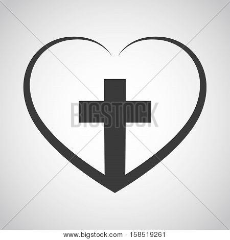 Heart with Christian cross inside. Vector illustration. Christian symbol.