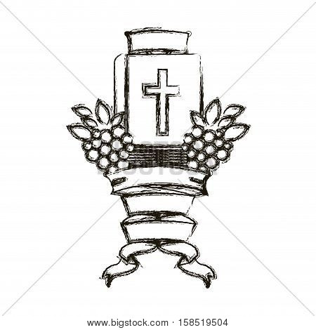 Bible and grapes icon. Religion god pray faith and believe theme. Isolated design. Vector illustration