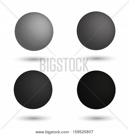 3D sphere. Set of realistic balls of different shades of grey. Vector illustration.