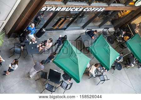 HOLLYWOOD CA - OCTOBER 12 2016: Starbucks store. Starbucks is the largest coffeehouse company in the world.
