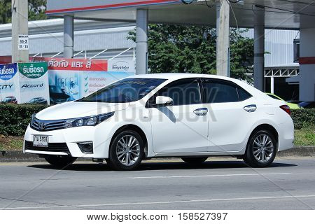 CHIANG MAI THAILAND - OCTOBER 27 2016: Private car Toyota Corolla Altis. On road no.1001 8 km from Chiangmai city.