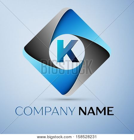 Letter K vector logo symbol in the colorful rhombus. Vector template for your design