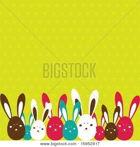 Easter card with rabbit . Vector illustration