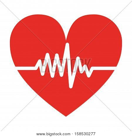 silhouette color heart beat pulse vector illustration