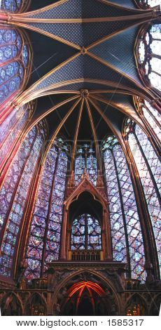 Stained Glass Windows Of The Choir In A Church, Sainte Chapelle, Notre Dame De Paris, Paris, France,