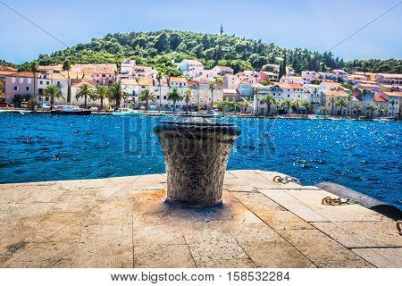 View at mediterranean scenery il town Korcula, Island Korcula, Croatia.