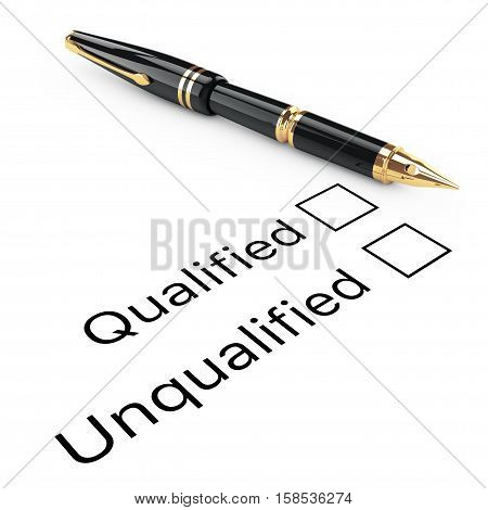 Survey Concept. Qualified or Unqualified Checklist with Golden Fountain Writing Pen on a white background. 3d Rendering