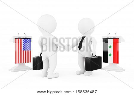 3d Businessman or Politicians Characters Shaking Hands near Tribunes with Syria and USA Flags on a white background. 3d Rendering
