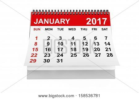 2017 year calendar. January calendar on a white background. 3d rendering