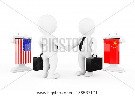 3d Businessman or Politicians Characters Shaking Hands near Tribunes with China and USA Flags on a white background. 3d Rendering