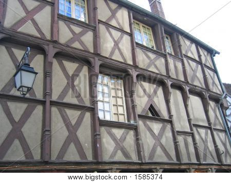 Typical French Wood House Of The Berry Area, Bourges, France