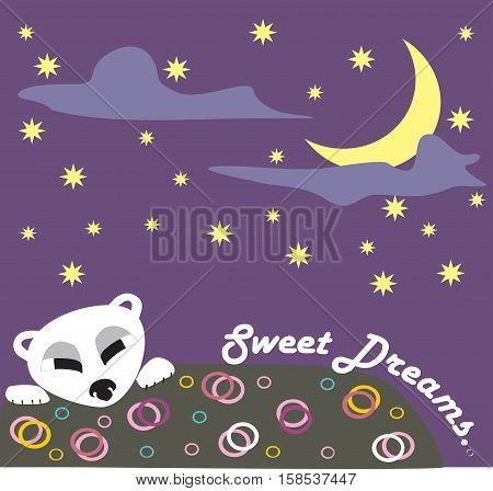 sweet dreams card with bear and stars