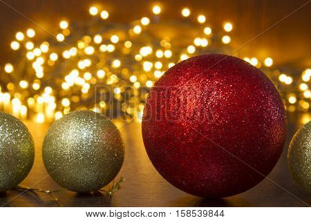 This foto pictured gold and red Christmas balls