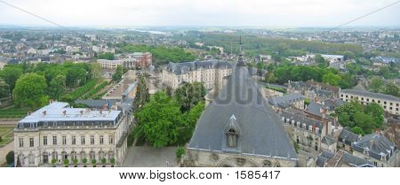 View On The City From The Saint Etienne Cathedral Church Tower, Bourges, France, Panorama