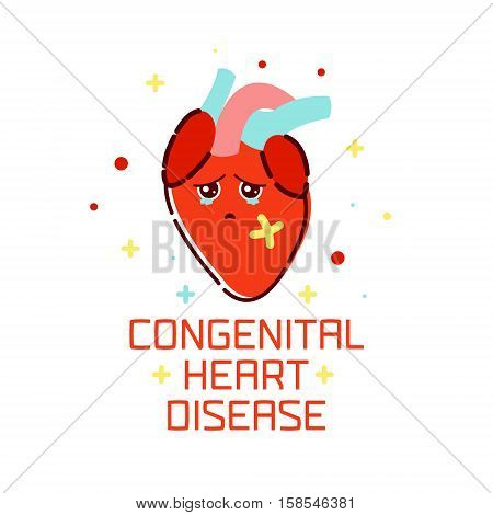 Congenital heart disease awareness poster with sad cartoon heart on white background. Human body organs anatomy icon. Medical concept. Vector illustration.