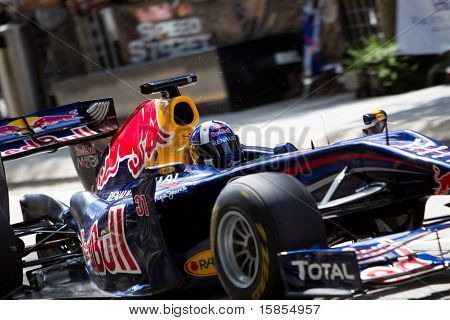 Close up of David Coulthard performing a demo run