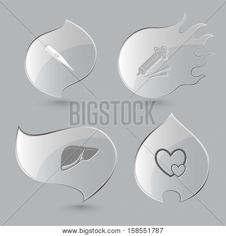 4 images: thermometer, syringe, liver, careful heart. Medical set. Glass buttons on gray background. Fire theme. Vector icons.