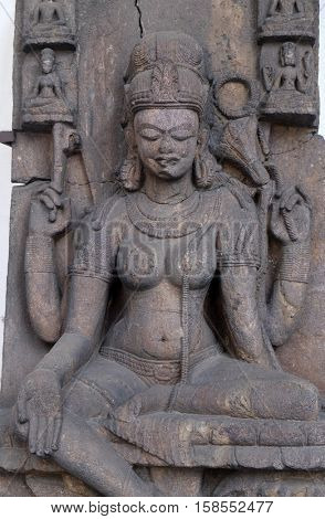 KOLKATA, INDIA - FEBRUARY 09:  Seated Tara, from 10th century found in Khondalite Lalitagiri, Odisha now exposed in the Indian Museum in Kolkata, West Bengal, India on February 09, 2016
