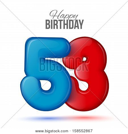 fifty three birthday greeting card template with 3d shiny number fifty three balloon on white background. Birthday party greeting, invitation card, banner with number 53 shaped balloon