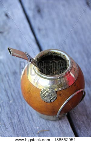 The popular South American, caffeine-rich beverage:  mate.