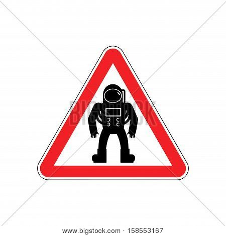 Astronaut Warning Sign Red. Cosmonaut Hazard Attention Symbol. Danger Road Sign Triangle Spaceman