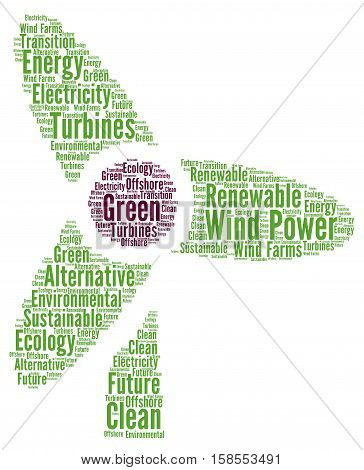 Wind power word cloud concept with a white background