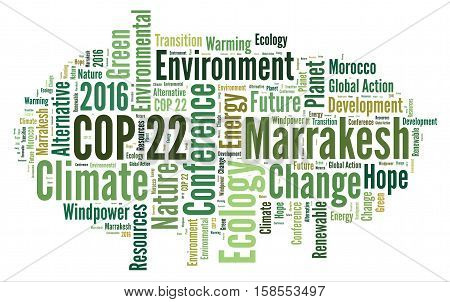 COP 22 in Marrakesh, Morocco with a white background