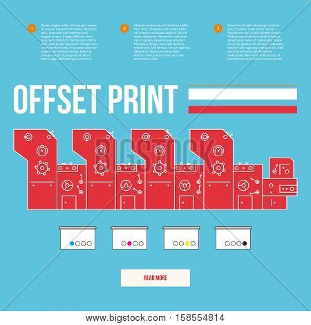 Advertisement offset machine concept. Color paint for print. Liquid cyan, magenta, yellow, black colors. Media equipment. Vector printing machinery design with gears. Business info graphics elements.